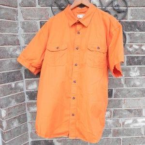 Men's short sleeve Magellan orange button up